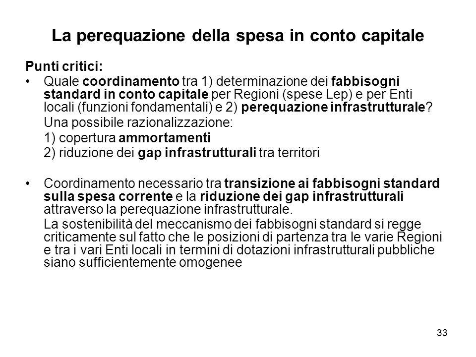 33 La perequazione della spesa in conto capitale Punti critici: Quale coordinamento tra 1) determinazione dei fabbisogni standard in conto capitale per Regioni (spese Lep) e per Enti locali (funzioni fondamentali) e 2) perequazione infrastrutturale.