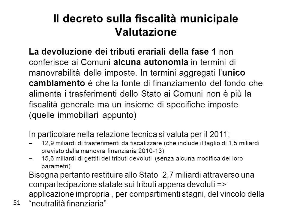 51 Il decreto sulla fiscalità municipale Valutazione La devoluzione dei tributi erariali della fase 1 non conferisce ai Comuni alcuna autonomia in termini di manovrabilità delle imposte.