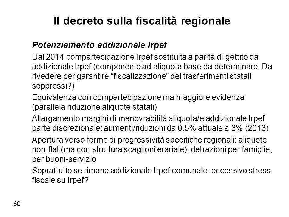60 Il decreto sulla fiscalità regionale Potenziamento addizionale Irpef Dal 2014 compartecipazione Irpef sostituita a parità di gettito da addizionale Irpef (componente ad aliquota base da determinare.