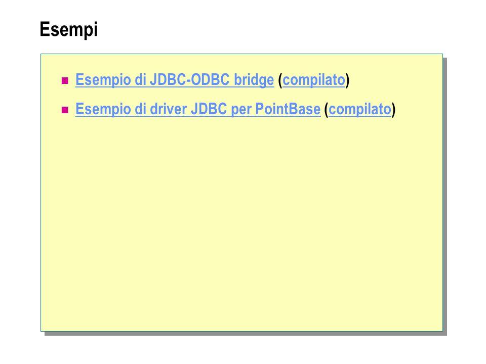 Esempi Esempio di JDBC-ODBC bridge (compilato) Esempio di JDBC-ODBC bridgecompilato Esempio di driver JDBC per PointBase (compilato) Esempio di driver