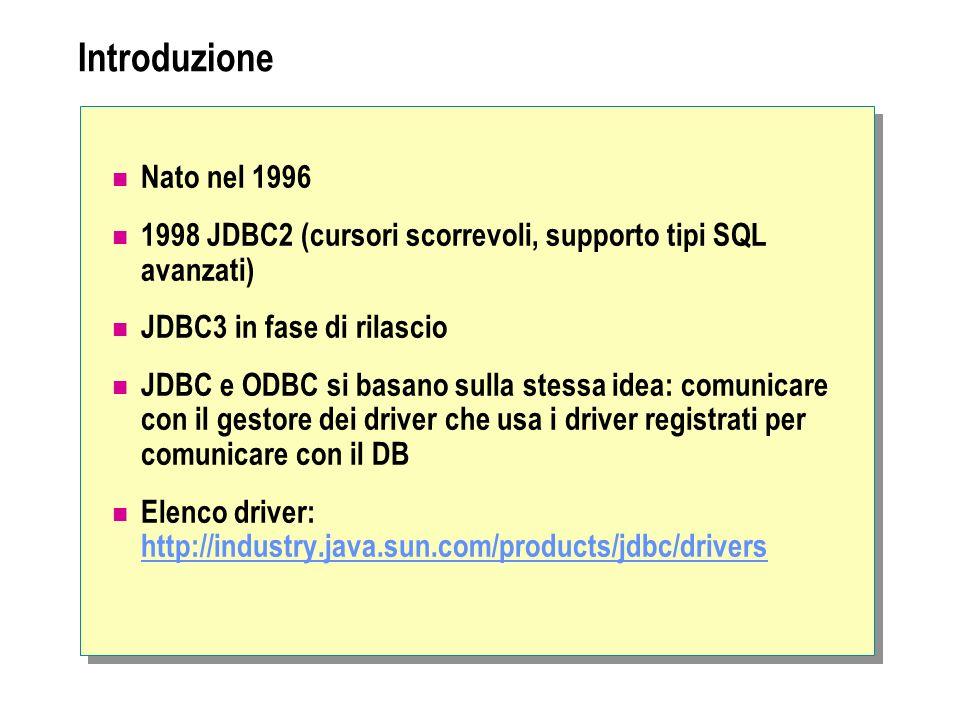 Introduzione Nato nel 1996 1998 JDBC2 (cursori scorrevoli, supporto tipi SQL avanzati) JDBC3 in fase di rilascio JDBC e ODBC si basano sulla stessa id