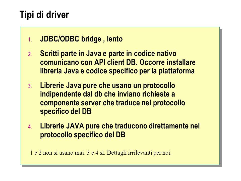 Uso tipico di JDBC Two tier (due livelli) funziona ma è critica busisness e viste collegate Tree tier (tre livelli) logica di business e viste scollegati (è meglio) Client (presentazione visiva) JDBC DB Protocollo db Logica di business JDBC DB Protocollo db Client (presentazione visiva) HTTP,RMI,ecc..