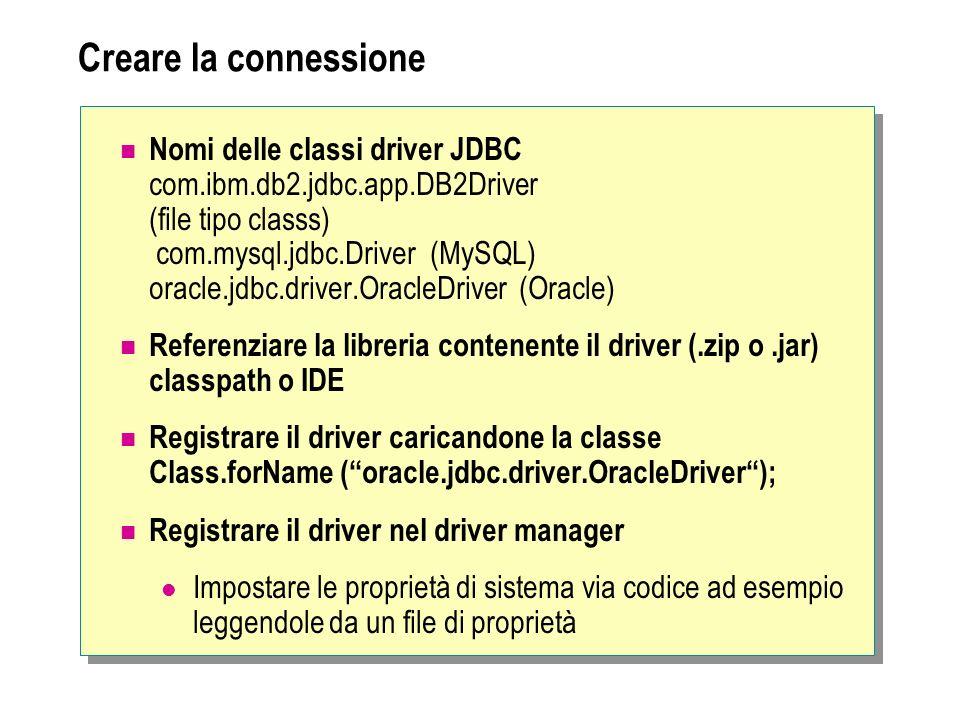 Creare la connessione Nomi delle classi driver JDBC com.ibm.db2.jdbc.app.DB2Driver (file tipo classs) com.mysql.jdbc.Driver (MySQL) oracle.jdbc.driver