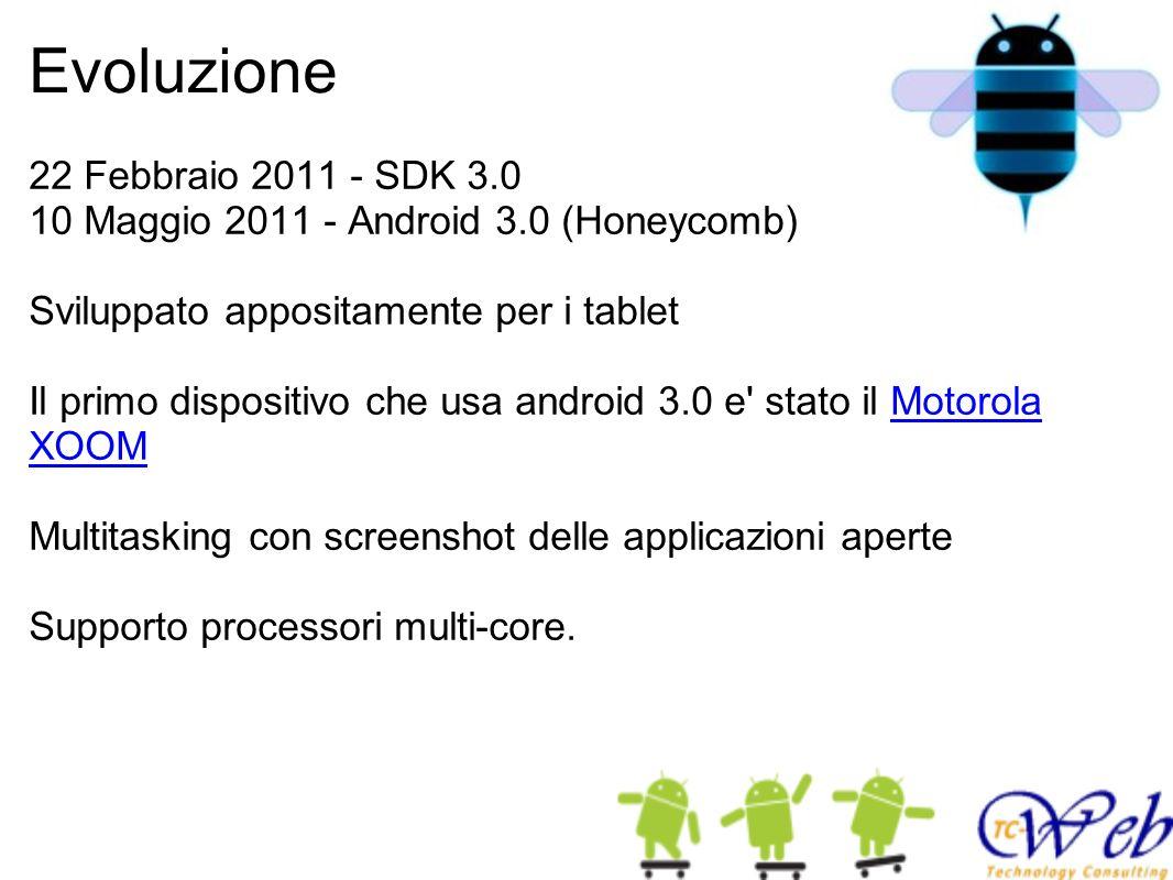 Evoluzione 22 Febbraio 2011 - SDK 3.0 10 Maggio 2011 - Android 3.0 (Honeycomb) Sviluppato appositamente per i tablet Il primo dispositivo che usa android 3.0 e stato il Motorola XOOM Multitasking con screenshot delle applicazioni aperte Supporto processori multi-core.