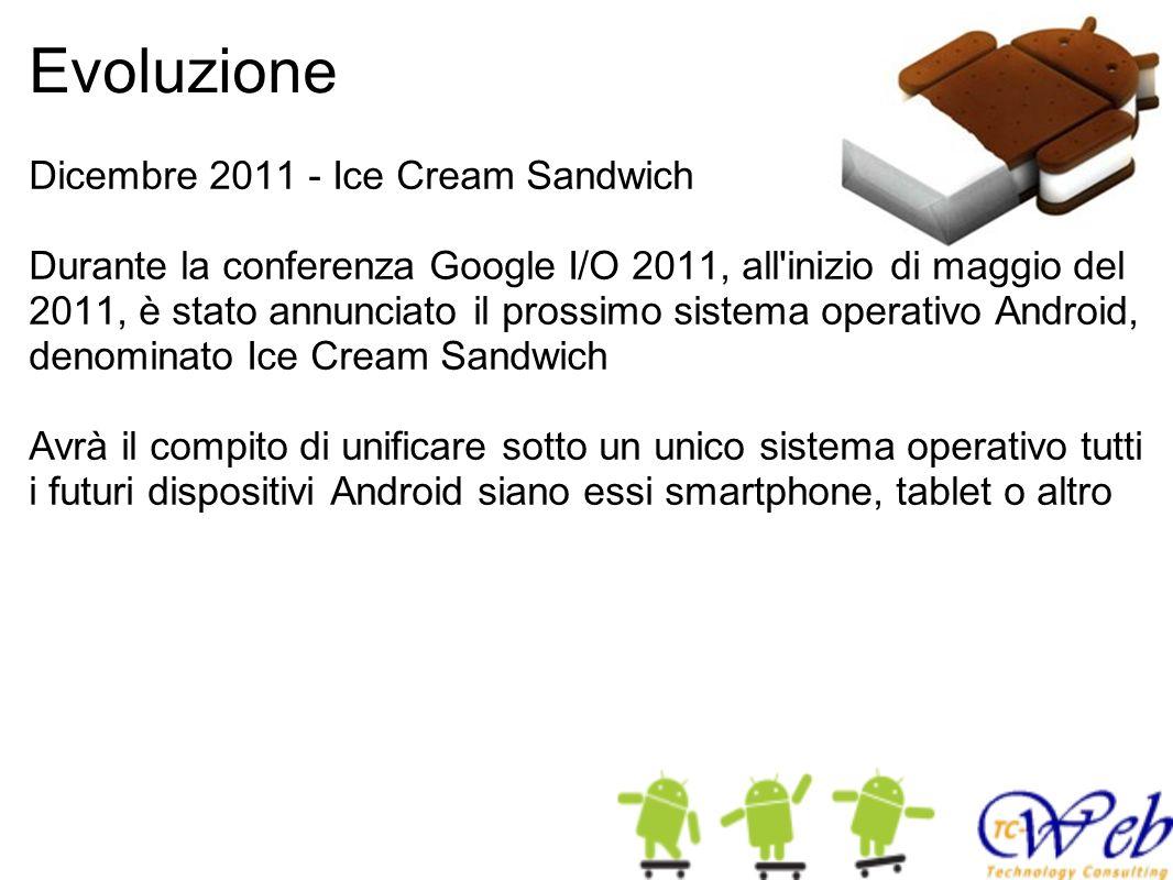 Evoluzione Dicembre 2011 - Ice Cream Sandwich Durante la conferenza Google I/O 2011, all inizio di maggio del 2011, è stato annunciato il prossimo sistema operativo Android, denominato Ice Cream Sandwich Avrà il compito di unificare sotto un unico sistema operativo tutti i futuri dispositivi Android siano essi smartphone, tablet o altro