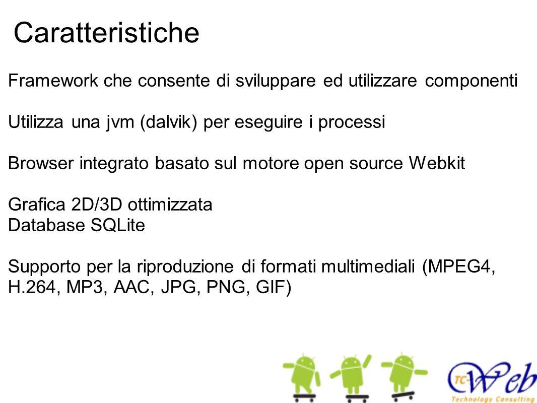Caratteristiche Framework che consente di sviluppare ed utilizzare componenti Utilizza una jvm (dalvik) per eseguire i processi Browser integrato basato sul motore open source Webkit Grafica 2D/3D ottimizzata Database SQLite Supporto per la riproduzione di formati multimediali (MPEG4, H.264, MP3, AAC, JPG, PNG, GIF)