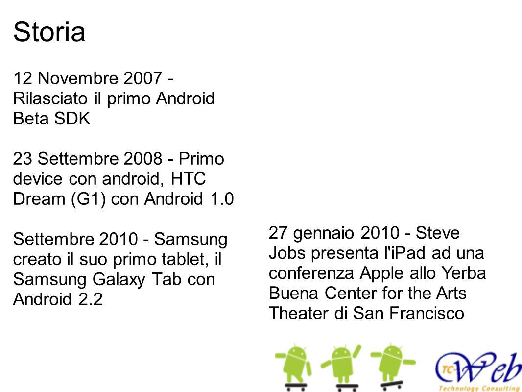 Storia 12 Novembre 2007 - Rilasciato il primo Android Beta SDK 23 Settembre 2008 - Primo device con android, HTC Dream (G1) con Android 1.0 Settembre 2010 - Samsung creato il suo primo tablet, il Samsung Galaxy Tab con Android 2.2 27 gennaio 2010 - Steve Jobs presenta l iPad ad una conferenza Apple allo Yerba Buena Center for the Arts Theater di San Francisco