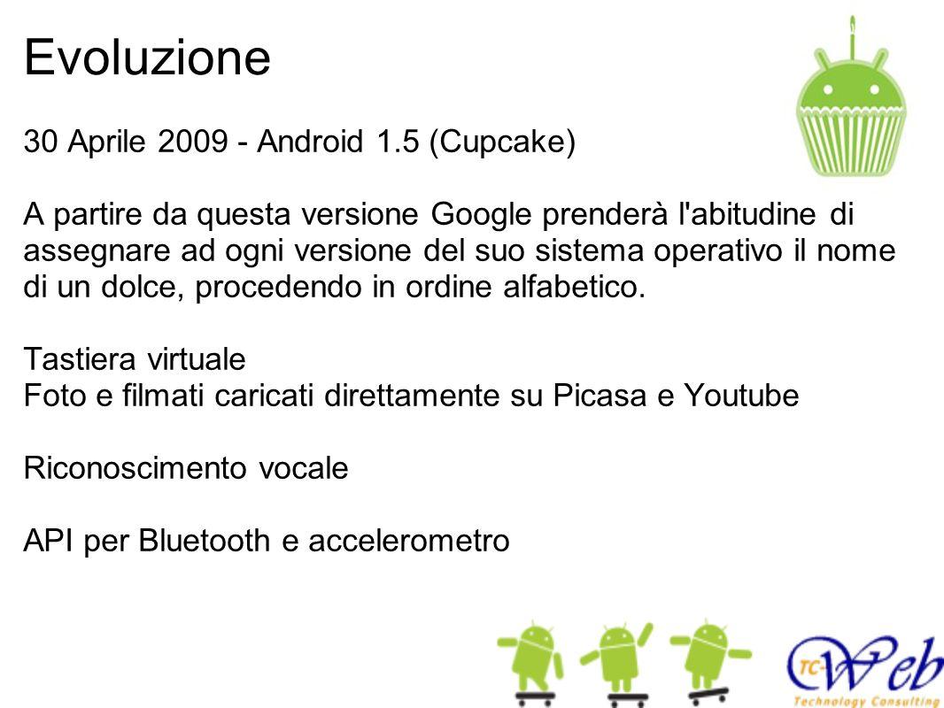 Evoluzione 30 Aprile 2009 - Android 1.5 (Cupcake) A partire da questa versione Google prenderà l abitudine di assegnare ad ogni versione del suo sistema operativo il nome di un dolce, procedendo in ordine alfabetico.