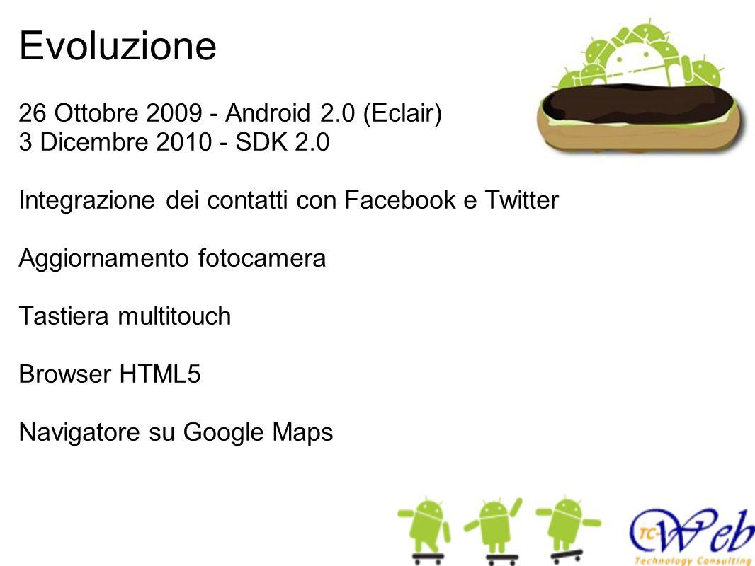 Evoluzione 26 Ottobre 2009 - Android 2.0 (Eclair) 3 Dicembre 2010 - SDK 2.0 Integrazione dei contatti con Facebook e Twitter Aggiornamento fotocamera Tastiera multitouch Browser HTML5 Navigatore su Google Maps