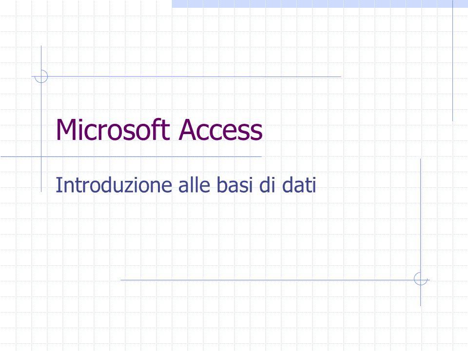 2 Access E un programma di gestione di database (DBMS) Access offre: un supporto transazionale limitato Meccanismi di sicurezza, protezione di dati e gestione della concorrenza semplici e incompleti un ambiente facile da usare (ambiente grafico)