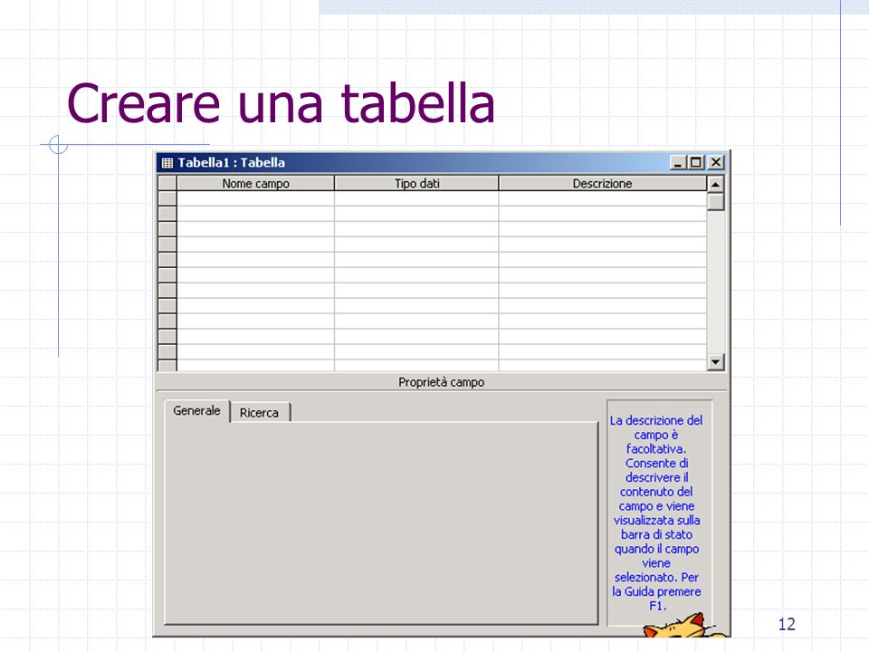 12 Creare una tabella