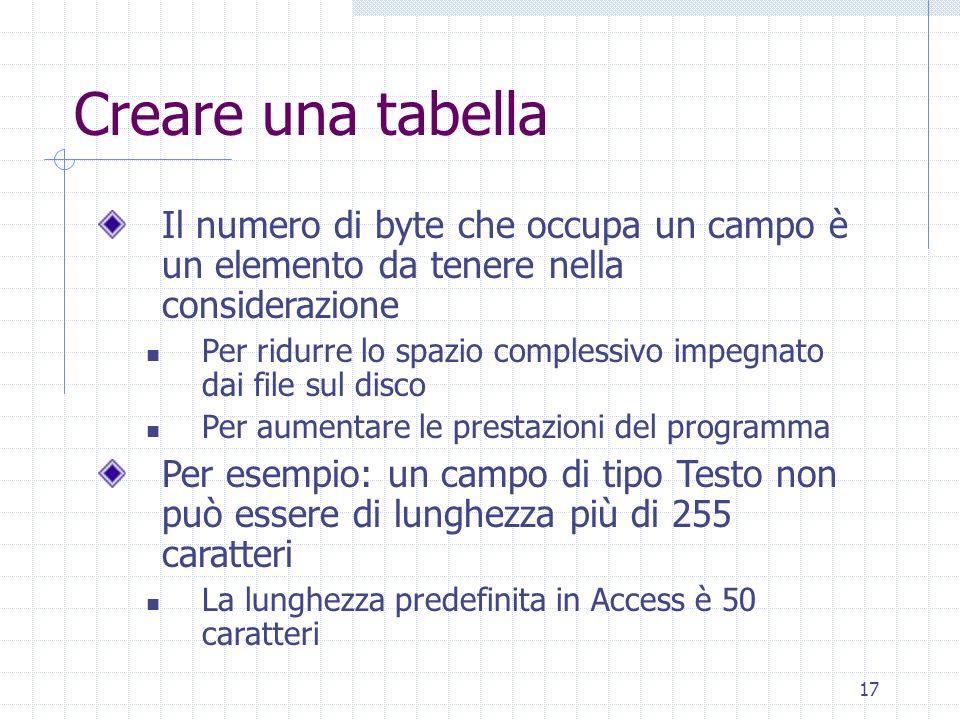 17 Creare una tabella Il numero di byte che occupa un campo è un elemento da tenere nella considerazione Per ridurre lo spazio complessivo impegnato d
