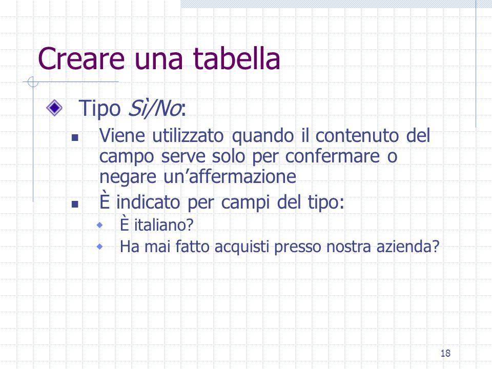 18 Creare una tabella Tipo Sì/No: Viene utilizzato quando il contenuto del campo serve solo per confermare o negare unaffermazione È indicato per camp