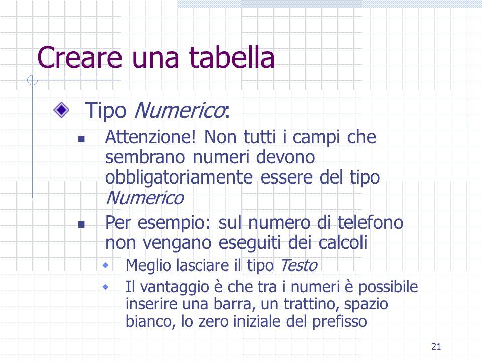 21 Creare una tabella Tipo Numerico: Attenzione! Non tutti i campi che sembrano numeri devono obbligatoriamente essere del tipo Numerico Per esempio: