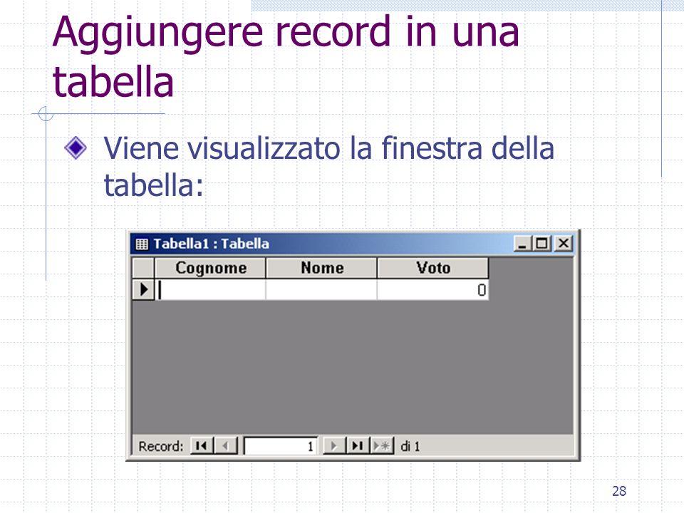 28 Aggiungere record in una tabella Viene visualizzato la finestra della tabella: