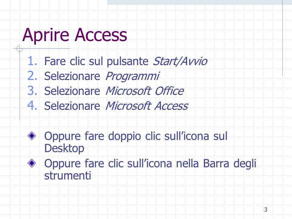3 Aprire Access 1. Fare clic sul pulsante Start/Avvio 2. Selezionare Programmi 3. Selezionare Microsoft Office 4. Selezionare Microsoft Access Oppure