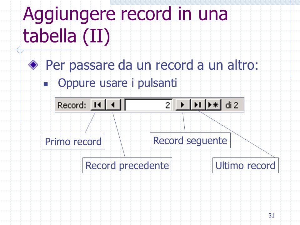 31 Aggiungere record in una tabella (II) Per passare da un record a un altro: Oppure usare i pulsanti Primo record Record precedente Record seguente U
