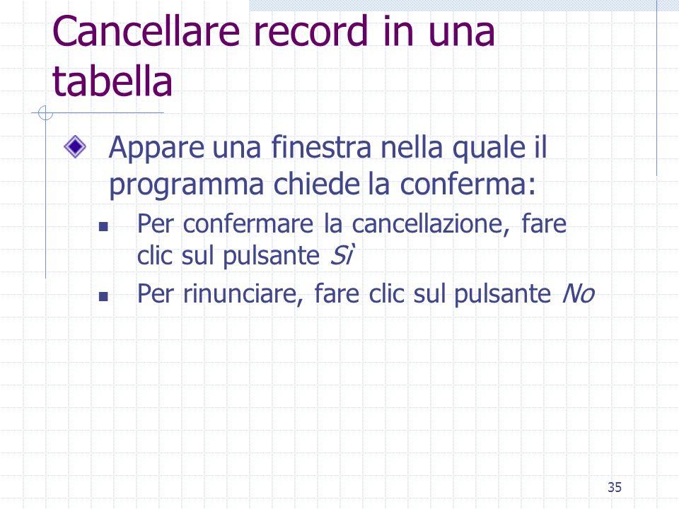 35 Cancellare record in una tabella Appare una finestra nella quale il programma chiede la conferma: Per confermare la cancellazione, fare clic sul pu