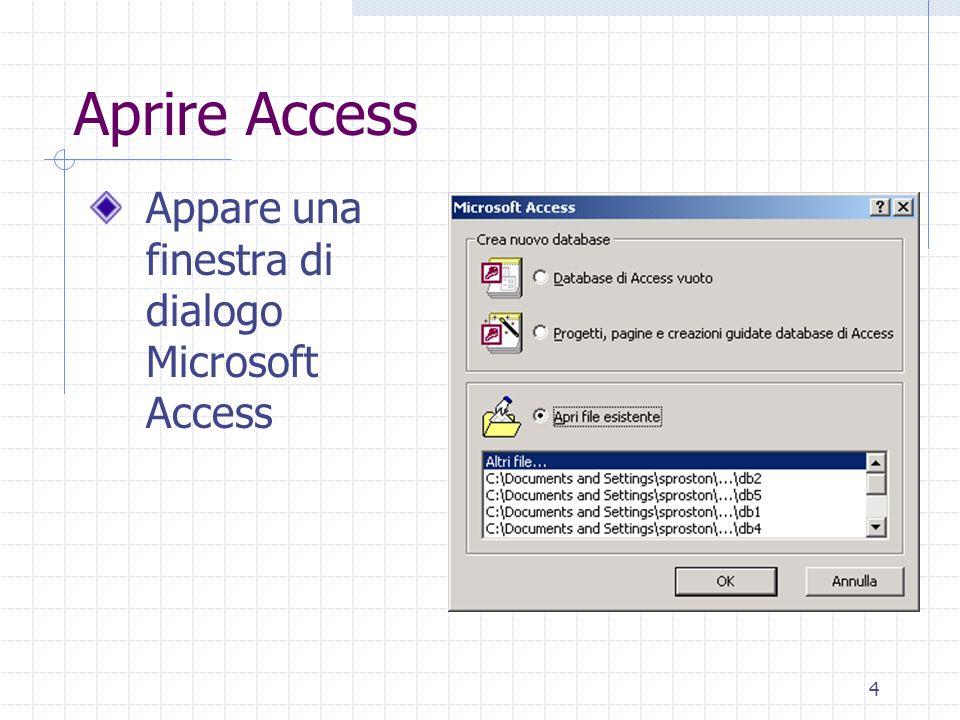5 Aprire un database Tramite la finestra di dialogo Microsoft Access Oppure: 1.