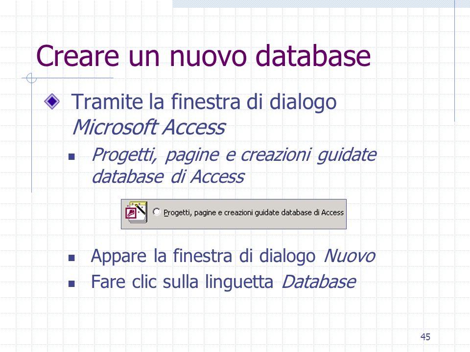 45 Creare un nuovo database Tramite la finestra di dialogo Microsoft Access Progetti, pagine e creazioni guidate database di Access Appare la finestra