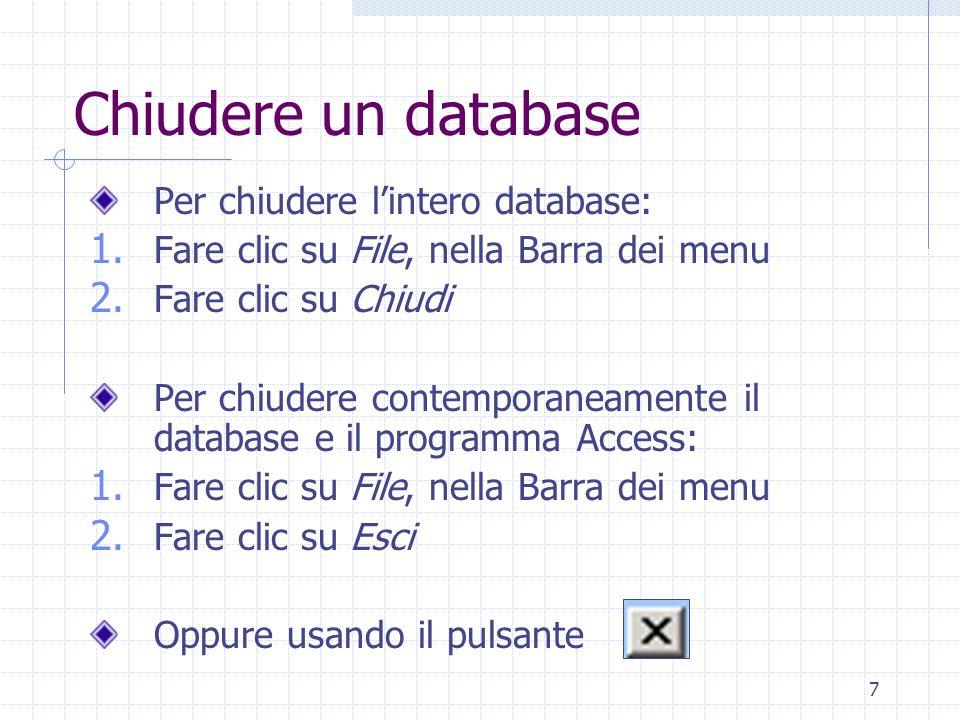 38 Cancellare dati in un record In alternativa al tasto Canc: Fare clic su Modifica, nella Barra dei menu Fare clic su Elimina Non è possibile cancellare il contenuto del campo di tipo: Contatore Sì/No