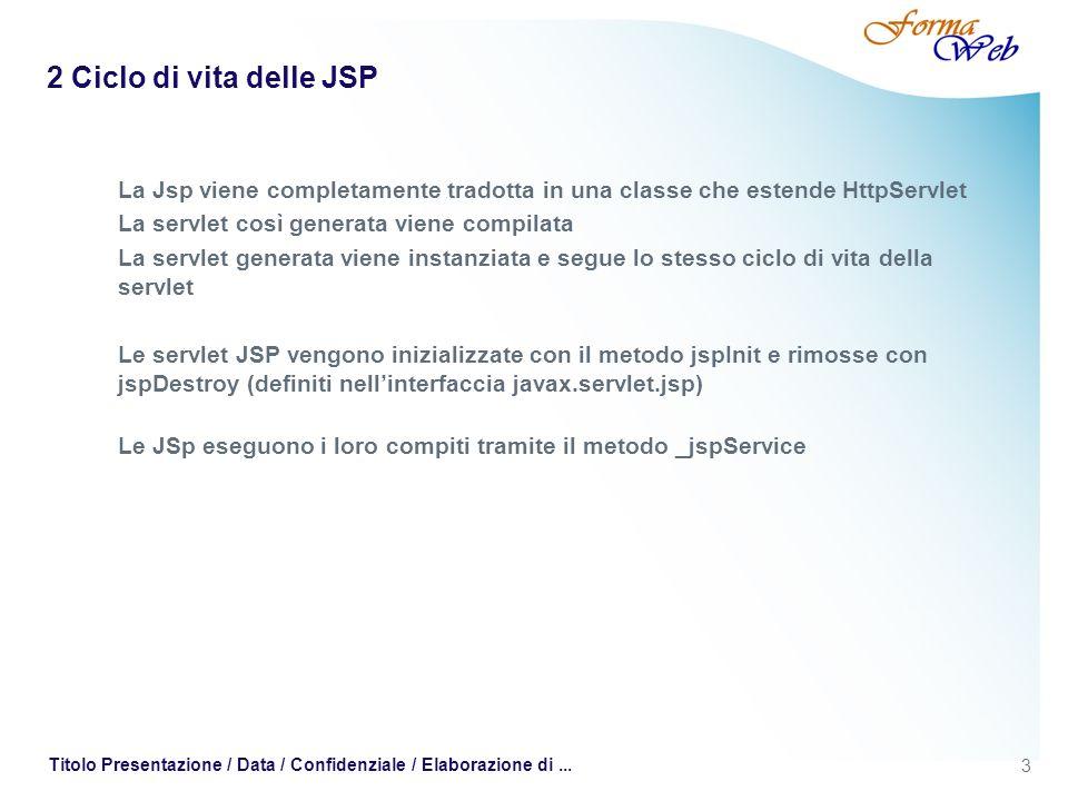 3 Titolo Presentazione / Data / Confidenziale / Elaborazione di... 2 Ciclo di vita delle JSP La Jsp viene completamente tradotta in una classe che est