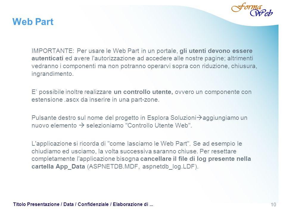 10 Titolo Presentazione / Data / Confidenziale / Elaborazione di... Web Part IMPORTANTE: Per usare le Web Part in un portale, gli utenti devono essere