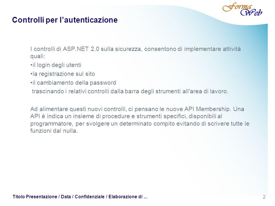 2 Titolo Presentazione / Data / Confidenziale / Elaborazione di... Controlli per lautenticazione I controlli di ASP.NET 2.0 sulla sicurezza, consenton