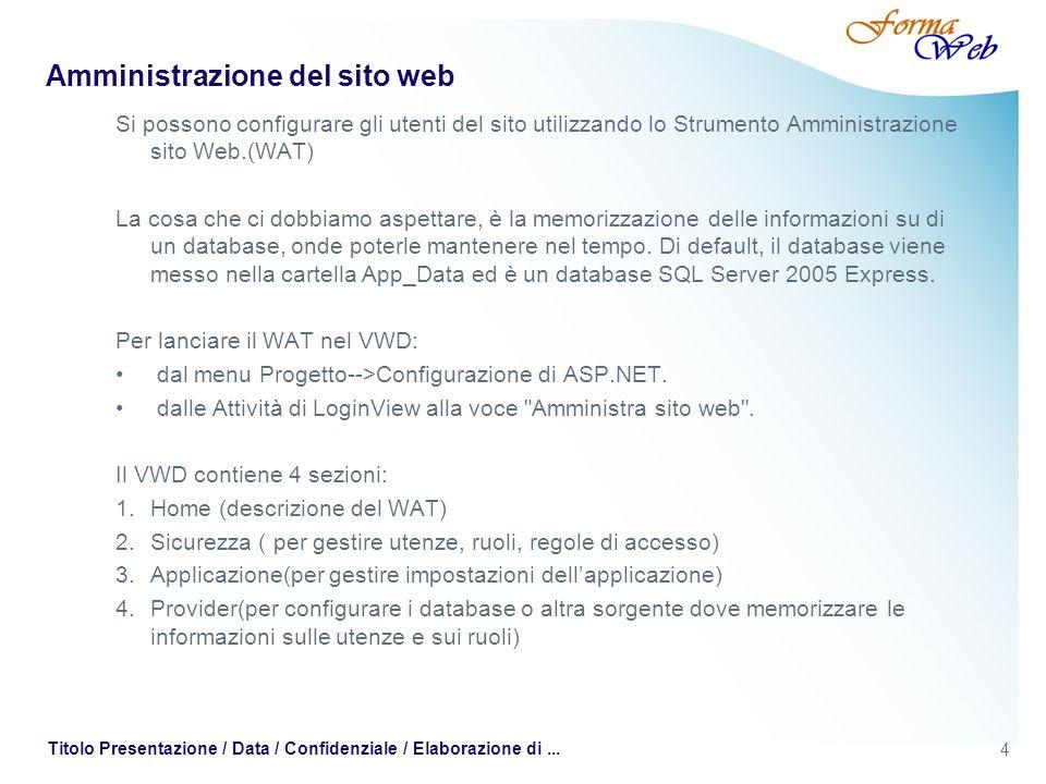 4 Titolo Presentazione / Data / Confidenziale / Elaborazione di... Amministrazione del sito web Si possono configurare gli utenti del sito utilizzando