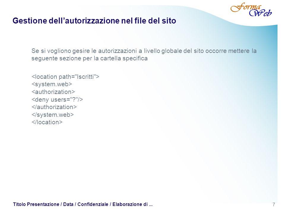 7 Titolo Presentazione / Data / Confidenziale / Elaborazione di... Gestione dellautorizzazione nel file del sito Se si vogliono gesire le autorizzazio