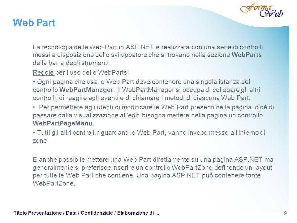 9 Titolo Presentazione / Data / Confidenziale / Elaborazione di... Web Part La tecnologia delle Web Part in ASP.NET è realizzata con una serie di cont