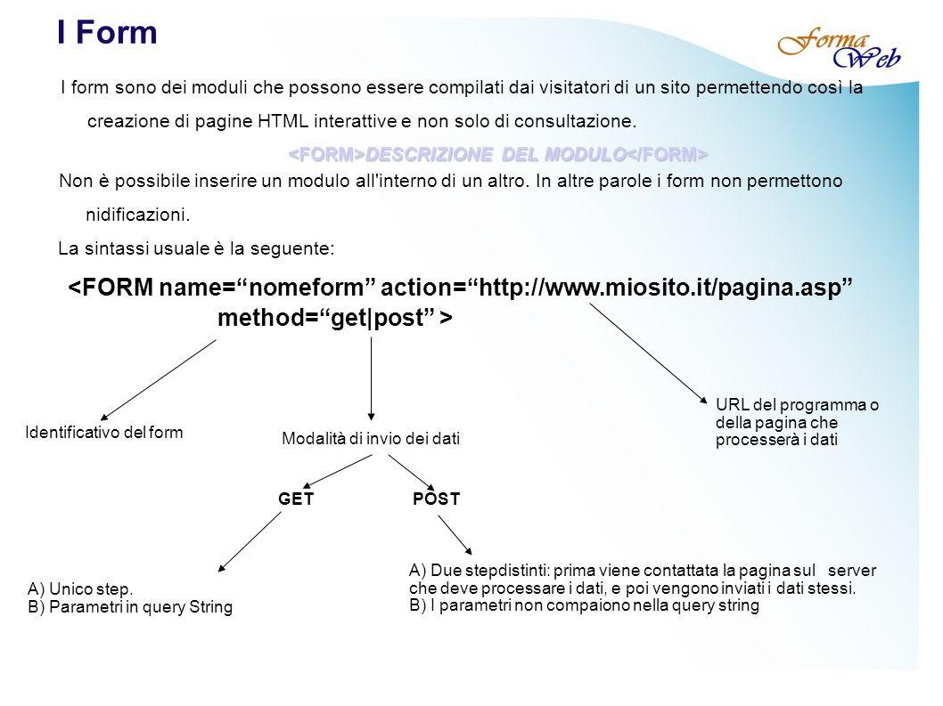 I Form I form sono dei moduli che possono essere compilati dai visitatori di un sito permettendo così la creazione di pagine HTML interattive e non solo di consultazione.