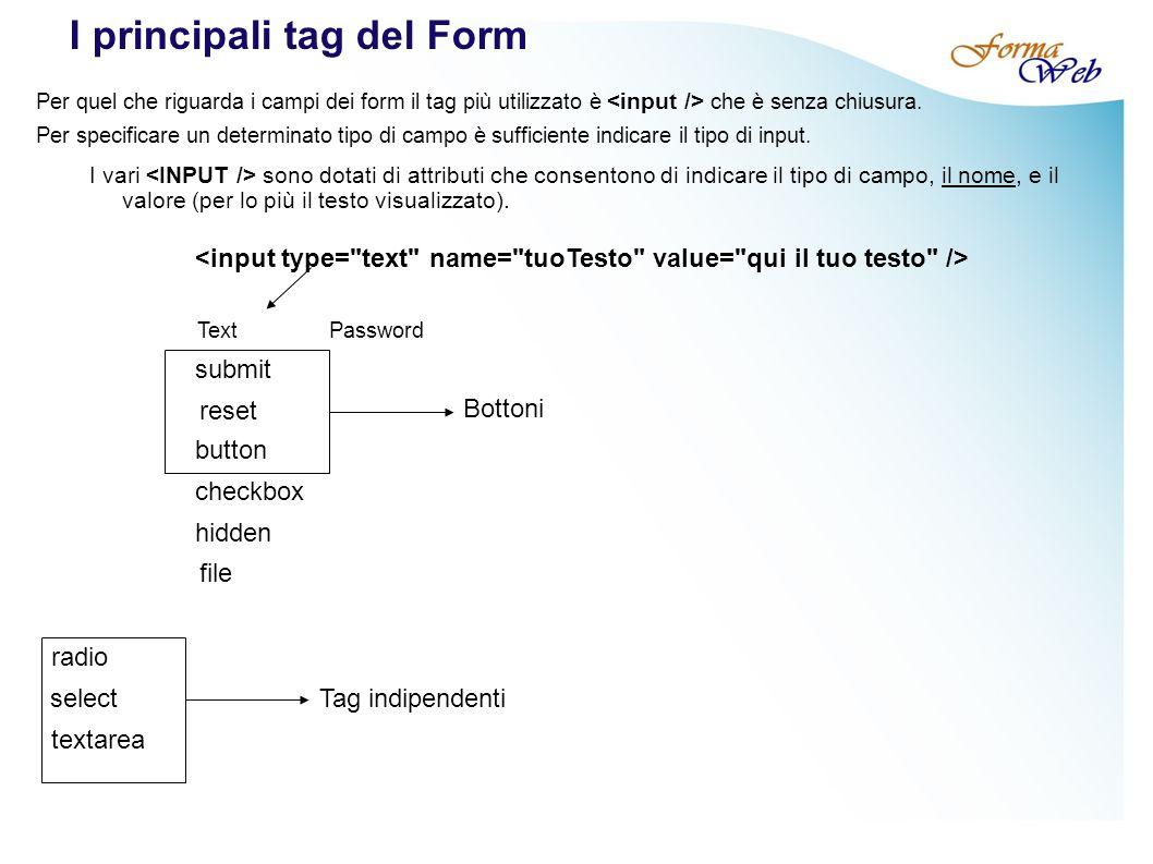 I principali tag del Form Per quel che riguarda i campi dei form il tag più utilizzato è che è senza chiusura.