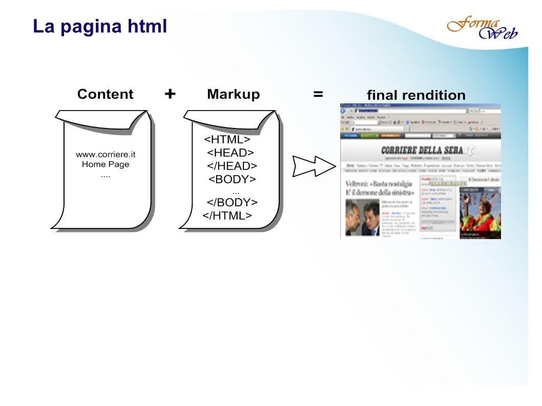 Il fondamento di html: i TAG Marcatori di apertura: Tutto ciò che si trova all interno di una pagina HTML e che fornisce la struttura della pagina e i suoi comportamenti è compreso tra porzioni di codice chiamate TAG e che hanno questa forma: Marcatori di chiusura: Apertura Chiusura Contenuto del tag Un può avere degli attributi: minuscolo tra doppi apici