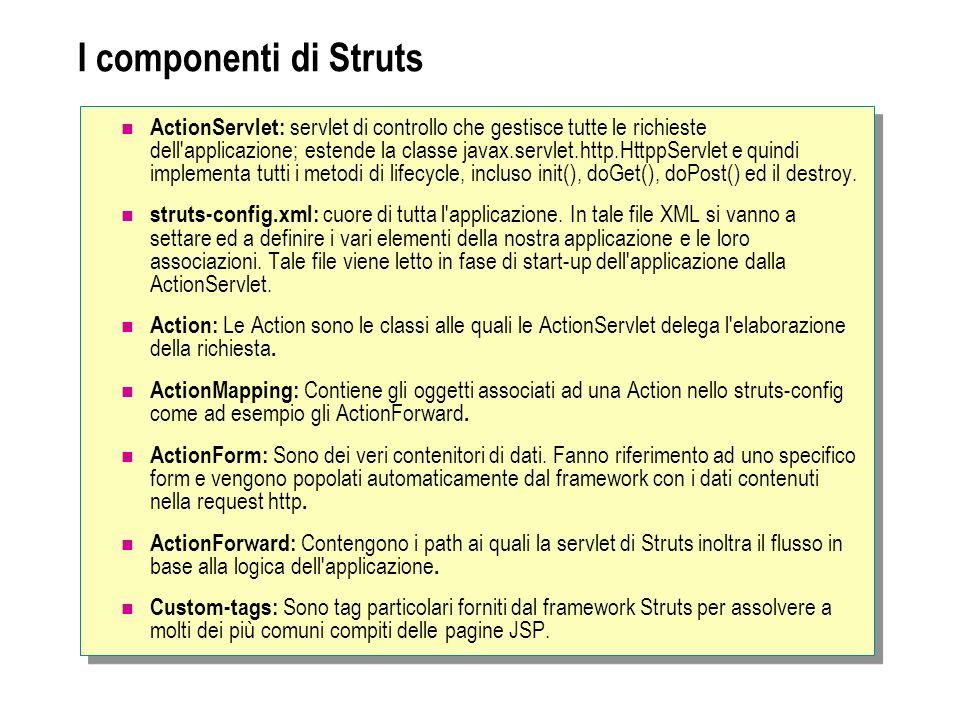I componenti di Struts ActionServlet: servlet di controllo che gestisce tutte le richieste dell'applicazione; estende la classe javax.servlet.http.Htt