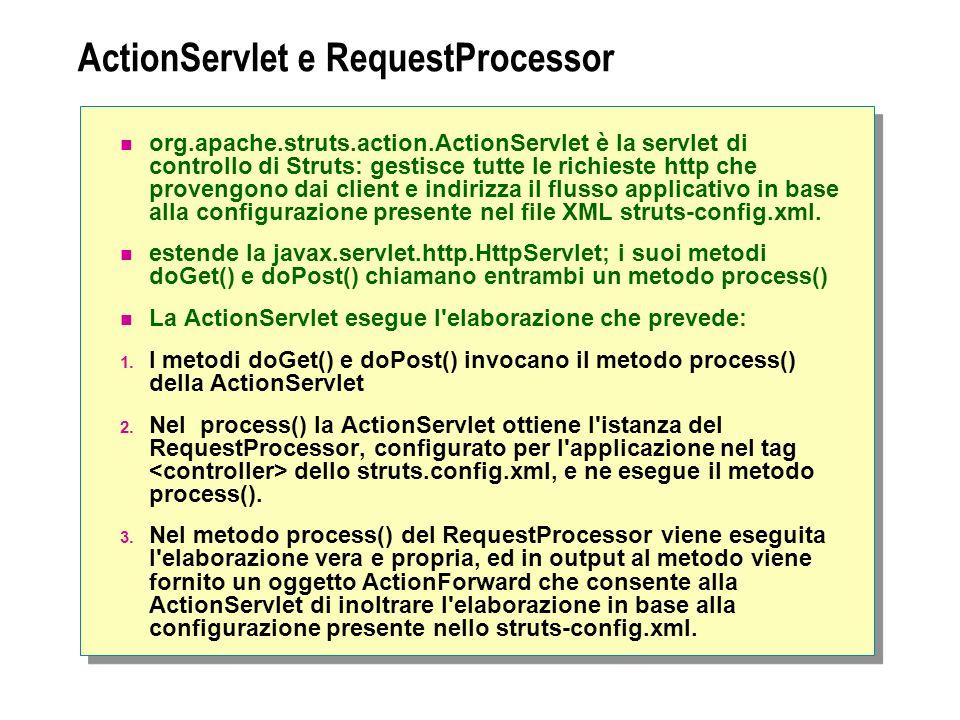 ActionServlet e RequestProcessor org.apache.struts.action.ActionServlet è la servlet di controllo di Struts: gestisce tutte le richieste http che provengono dai client e indirizza il flusso applicativo in base alla configurazione presente nel file XML struts-config.xml.