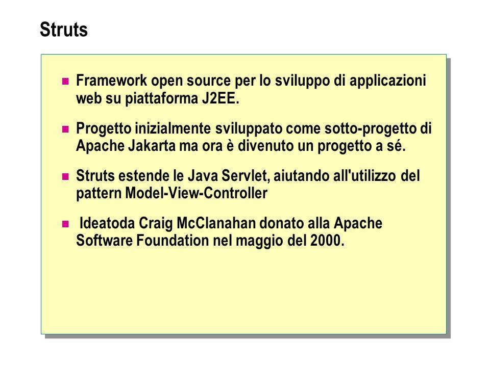 Framework open source per lo sviluppo di applicazioni web su piattaforma J2EE. Progetto inizialmente sviluppato come sotto-progetto di Apache Jakarta