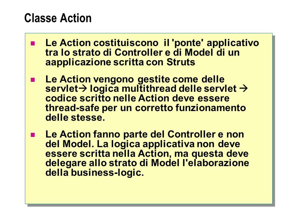 Classe Action Le Action costituiscono il ponte applicativo tra lo strato di Controller e di Model di un aapplicazione scritta con Struts Le Action vengono gestite come delle servlet logica multithread delle servlet codice scritto nelle Action deve essere thread-safe per un corretto funzionamento delle stesse.