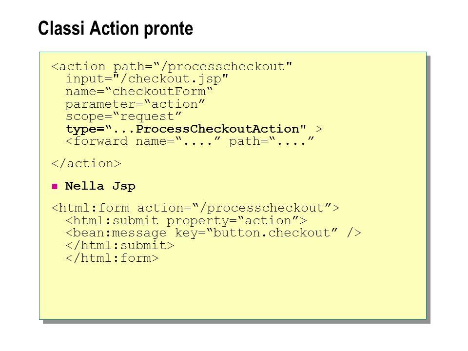 Classi Action pronte <forward name=.... path=.... Nella Jsp