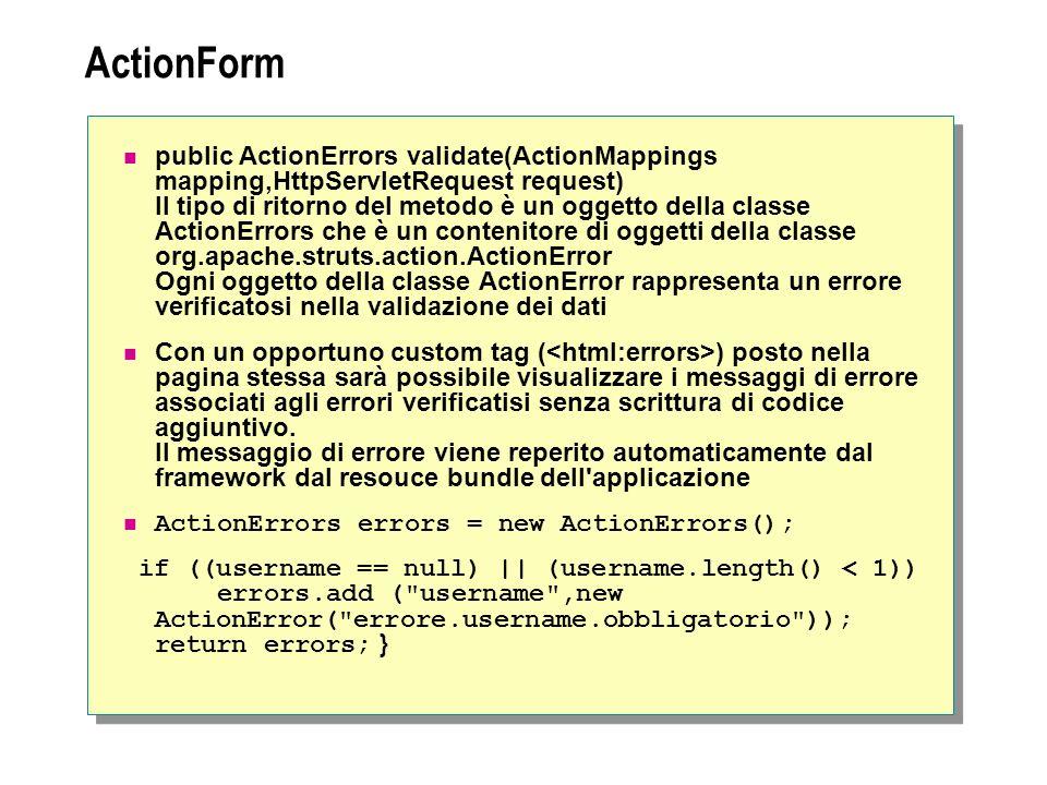 ActionForm public ActionErrors validate(ActionMappings mapping,HttpServletRequest request) Il tipo di ritorno del metodo è un oggetto della classe Act