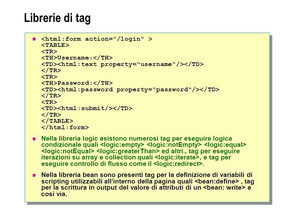 Librerie di tag Username: Password: Nella libreria logic esistono numerosi tag per eseguire logica condizionale quali ed altri., tag per eseguire iterazioni su array e collection quali, e tag per eseguire controllo di flusso come il.