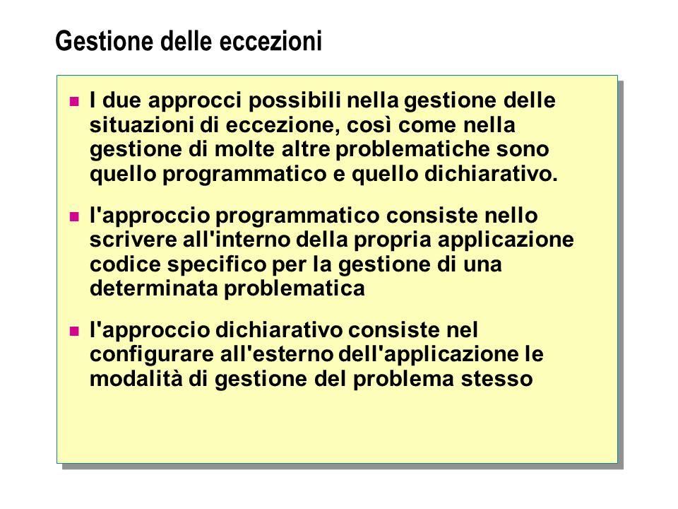 Gestione delle eccezioni I due approcci possibili nella gestione delle situazioni di eccezione, così come nella gestione di molte altre problematiche sono quello programmatico e quello dichiarativo.