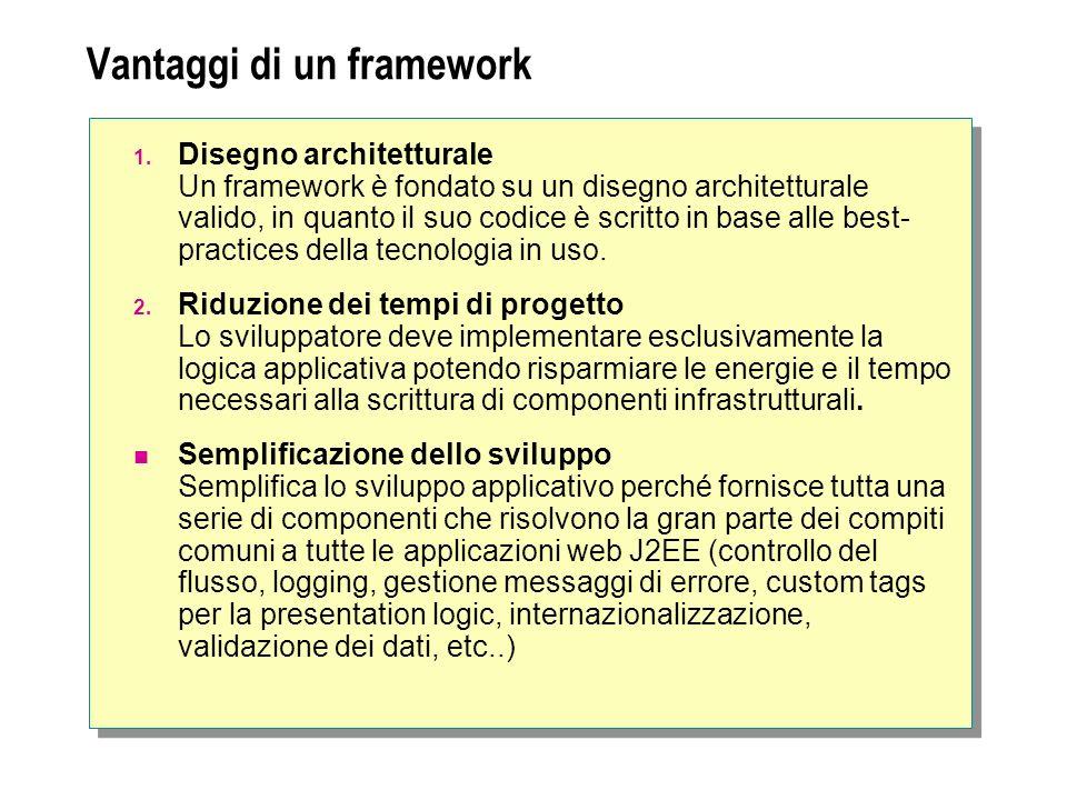 Vantaggi di un framework 1. Disegno architetturale Un framework è fondato su un disegno architetturale valido, in quanto il suo codice è scritto in ba
