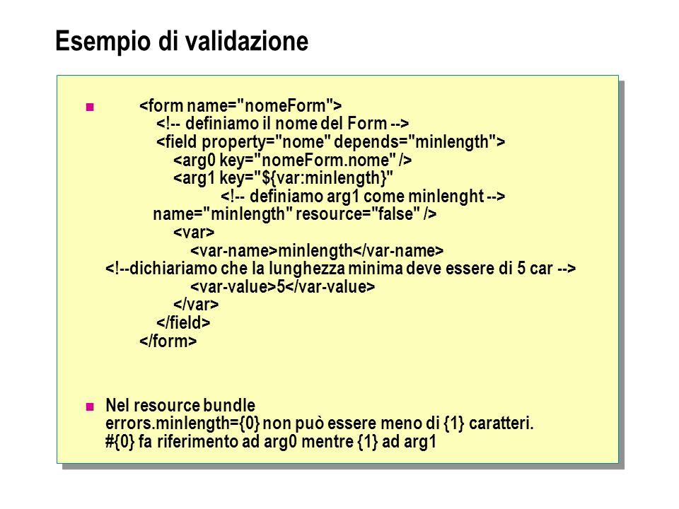 Esempio di validazione name= minlength resource= false /> minlength 5 Nel resource bundle errors.minlength={0} non può essere meno di {1} caratteri.