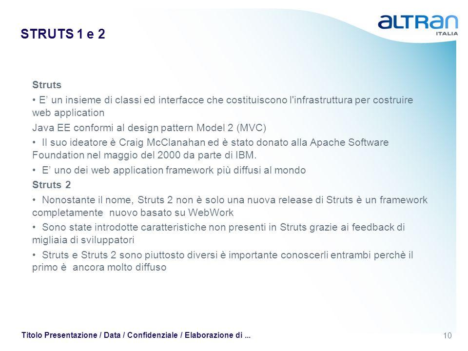 10 Titolo Presentazione / Data / Confidenziale / Elaborazione di... STRUTS 1 e 2 Struts E un insieme di classi ed interfacce che costituiscono l'infra