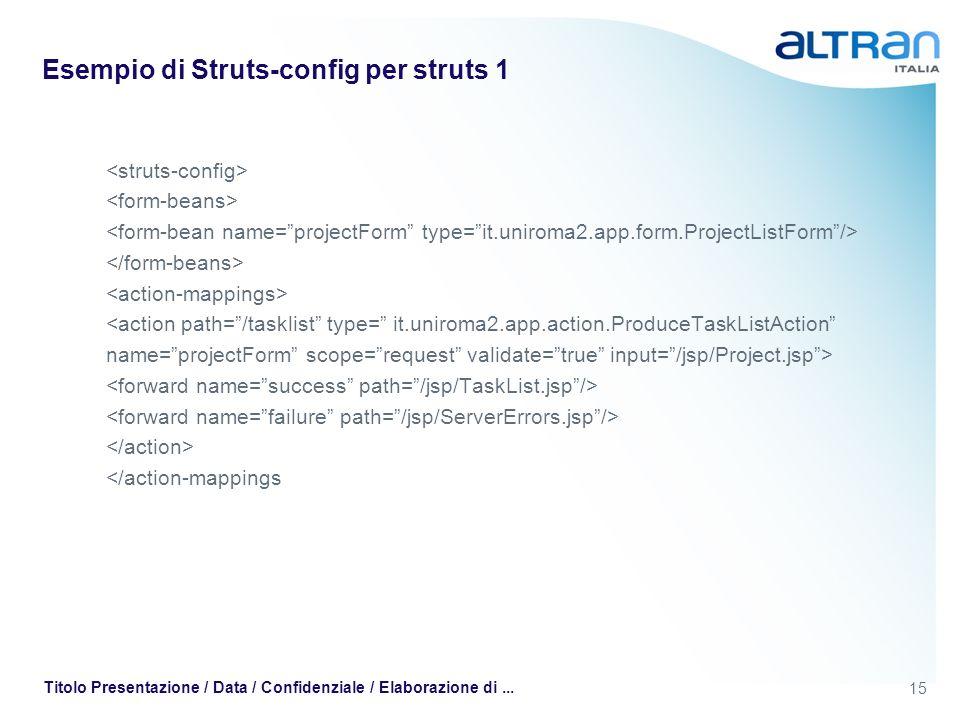 15 Titolo Presentazione / Data / Confidenziale / Elaborazione di... Esempio di Struts-config per struts 1 <action path=/tasklist type= it.uniroma2.app