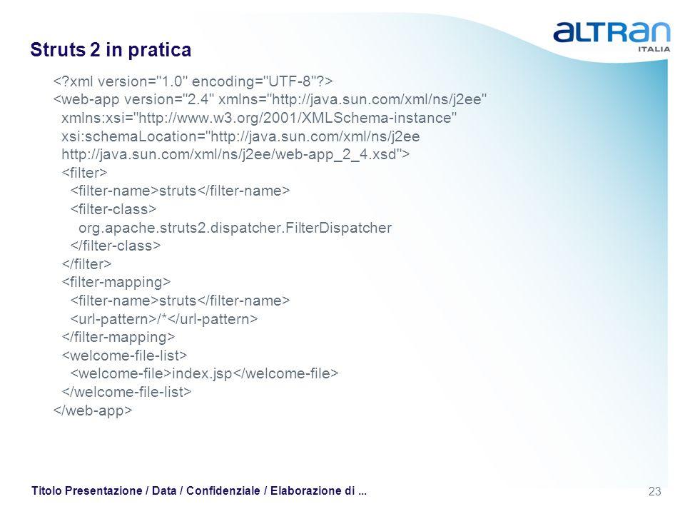 23 Titolo Presentazione / Data / Confidenziale / Elaborazione di... Struts 2 in pratica struts org.apache.struts2.dispatcher.FilterDispatcher struts /