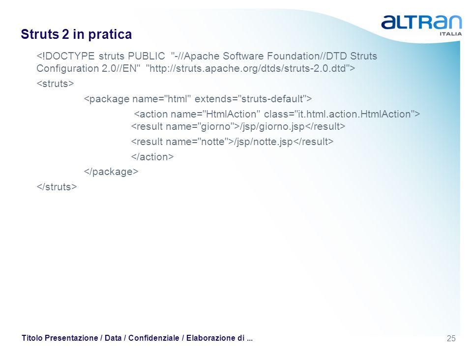 25 Titolo Presentazione / Data / Confidenziale / Elaborazione di... Struts 2 in pratica /jsp/giorno.jsp /jsp/notte.jsp