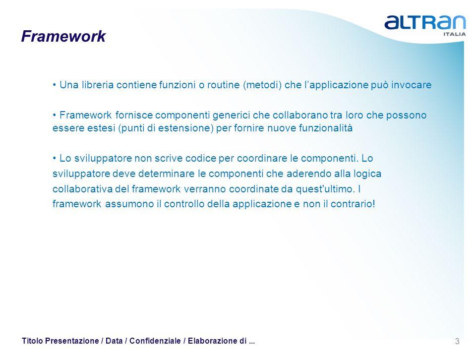 3 Titolo Presentazione / Data / Confidenziale / Elaborazione di... Framework Una libreria contiene funzioni o routine (metodi) che lapplicazione può i