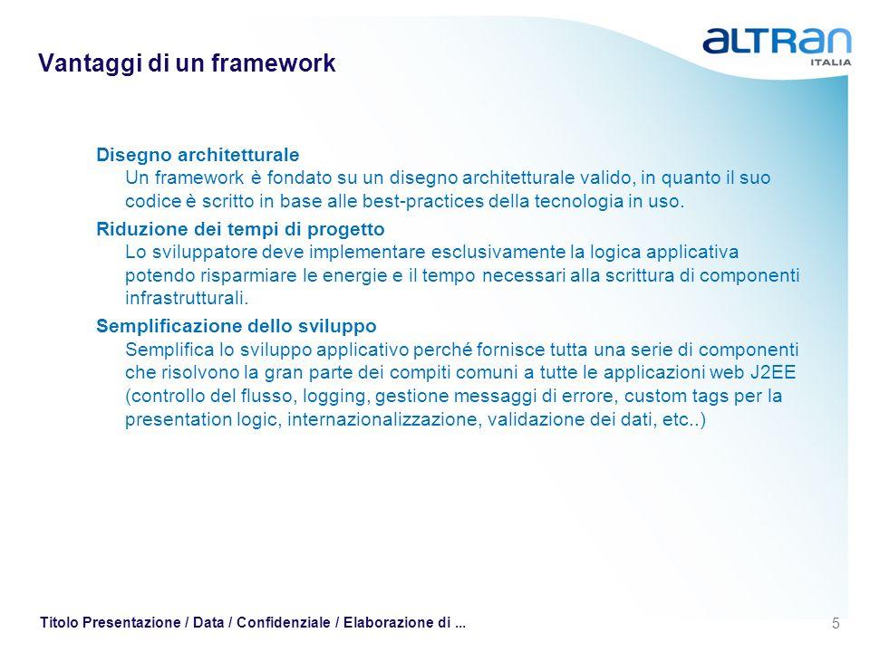 5 Titolo Presentazione / Data / Confidenziale / Elaborazione di... Vantaggi di un framework Disegno architetturale Un framework è fondato su un disegn